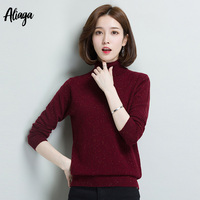 100% Goat Cashmere Dots Knitwear Sweater Turtleneck Long Sleeves Autumn Winter Female Jumpers Pullover