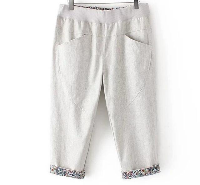 71d71353d53 4XL 2016new women cotton linen pants elastic waist plus size european woman vintage  calf length summer