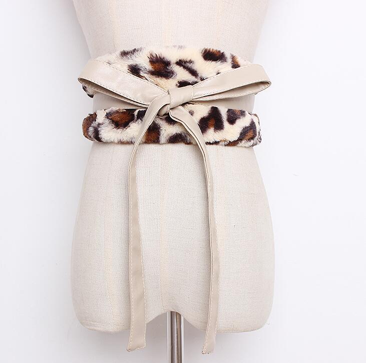 Women's Runway Fashion Faux Fur Pu Leather Cummerbunds Female Dress Corsets Waistband Belts Decoration Wide Belt R1659