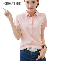 BOBOKATEER Plus Size White Striped Embroidery Shirt Summer Loose Short Sleeve V Neck Women Tops Blusas