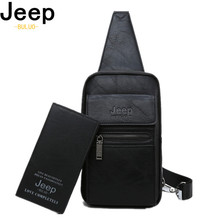JEEP BULUO High Quality Split Leather Shoulder Crossbody Bag Men Chest Bags For Young Man Famous Brand Sling Bags