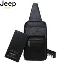 JEEP BULUO High Quality Split Leather Shoulder Crossbody Bag Men