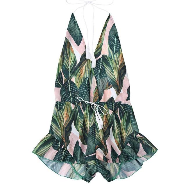 ZAFUL Backless Deep V Neck Sexy Halter Romper Jumpsuit Women Drawstring Leaf Print Summer Playsuit Ladies Beach Overalls  2