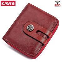 KAVIS 100% 本革小さなカードホルダー女性財布女性コイン財布多機能 Portomonee マネーバッグ女性ミニポケット