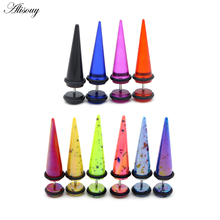 Alisouy 2pc UV Acrylic Illusion Ear Fake Cheater Stretcher Taper Spike Cheater Plug Tunnel Expander Earrings Gauges Body Jewelry
