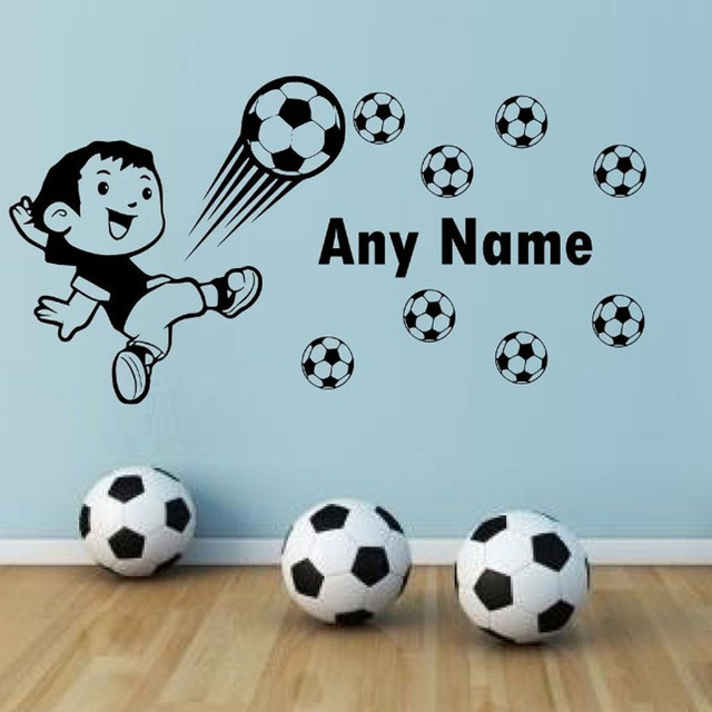Personalised customize name wall stickers 3d soccer football art wall decal for kids bedroom wall sticker
