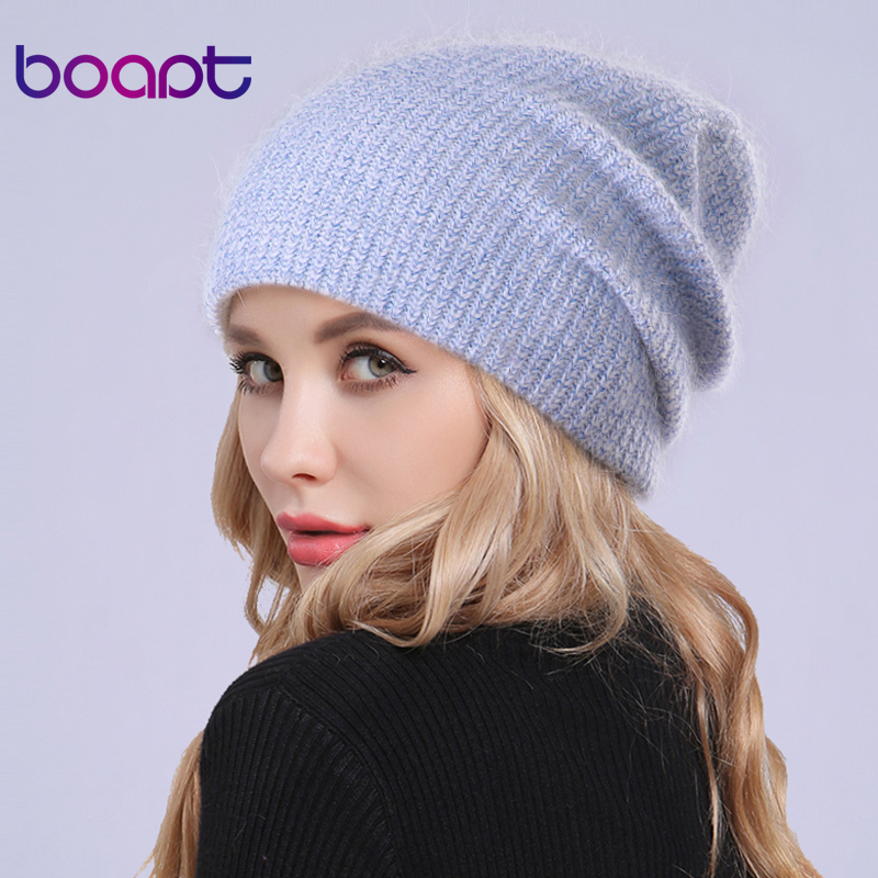 [boapt] Gold Line Double layer Rabbit Knitted Thick Lady Bonnet Warm Winter Hats For Women's Caps   Skullies     Beanies   Female Hat