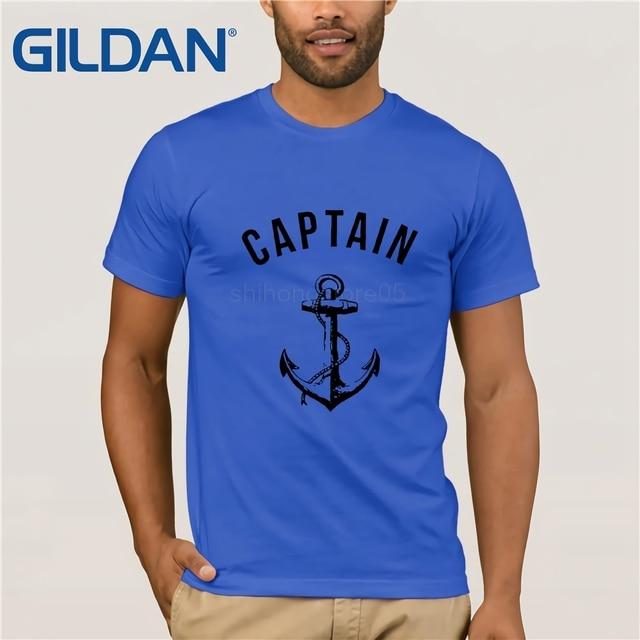 GILDAN DIY Style mens t shirts T Shirt Men Captain T-shirt Anchor Navy  Nautical Sea Ocean Sailor Ship Marine Beach Shirt 21989b82d284