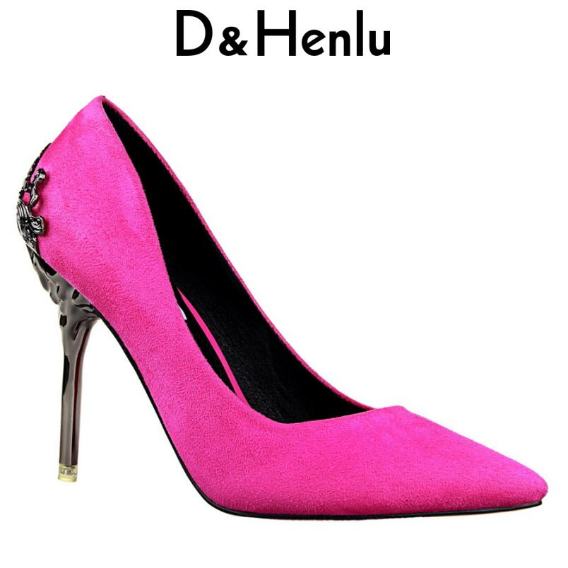 {D&Henlu} Brand Shoes Elegant Lady High Heels Women Pumps Carving Thin Heel Pointed Toe High Heel Party Shoes Woman Gold Sliver lady s pumps high thin heel spike heels mixed colors metal buckle elegant concise women wedding shoes 2015 high heels