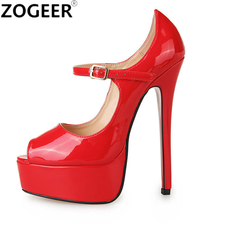 Plus Size 48 Fashion Women Pumps Peep Toe Height Platform Extreme High Heels Shoes 16 CM Sexy Nightclub Evening Party Shoes Red trendy long synthetic red splicing black charming fluffy curly neat bang capless cosplay wig for women