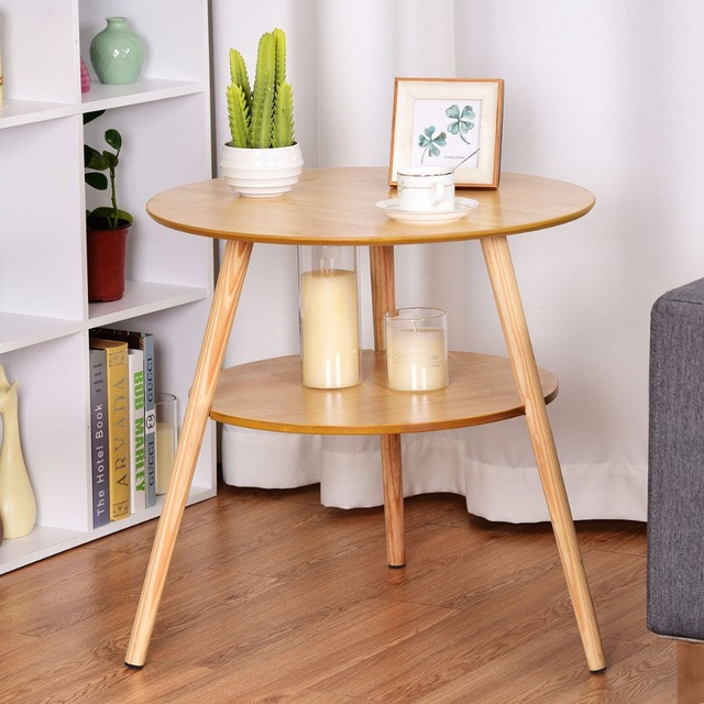Giantex Tier Round End Coffee Table Side Accent Table Wood Legs - 2 tier round coffee table