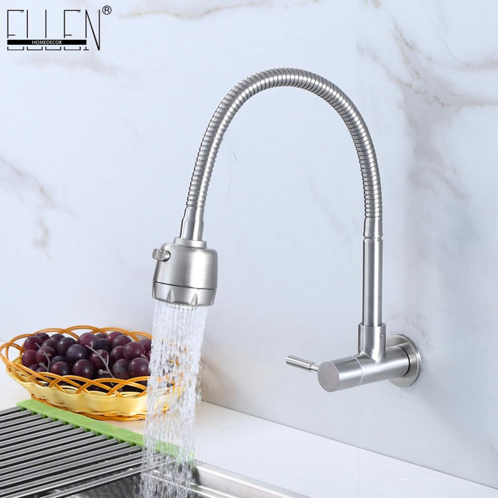 Us 24 57 37 Off Wall Mounted Single Cold Kitchen Faucet Kitchen Sink Tap Stainless Steel Crane Els414 In Kitchen Faucets From Home Improvement On