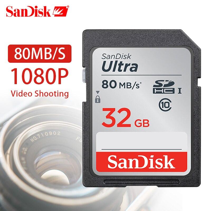 SanDisk Ultra 128 gb 80 mb/s Classe 10 SD SDHC SDXC Carte Mémoire dans SD carte 32 gb 16 gb 64 gb pour Support de Caméra Vérification Officielle