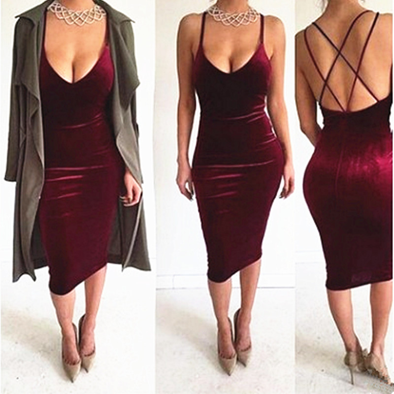 High Quality Women 2017 New Sexy Fashion Summer Sleeveless Spaghetti Strap Evening Party Mid Velvet Dress Robe Velours Strap