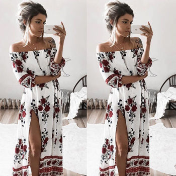 Floral Dresses Sexy Slash Neck Split Long Evening Party Beach Dress