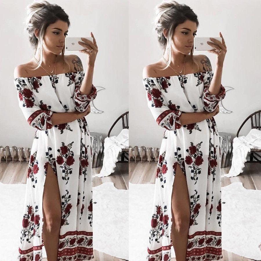 Estate delle donne dell'annata boho floreale abiti sexy slash neck split lungo da sera beach party dress floreale vestito estivo abbigliamento donna