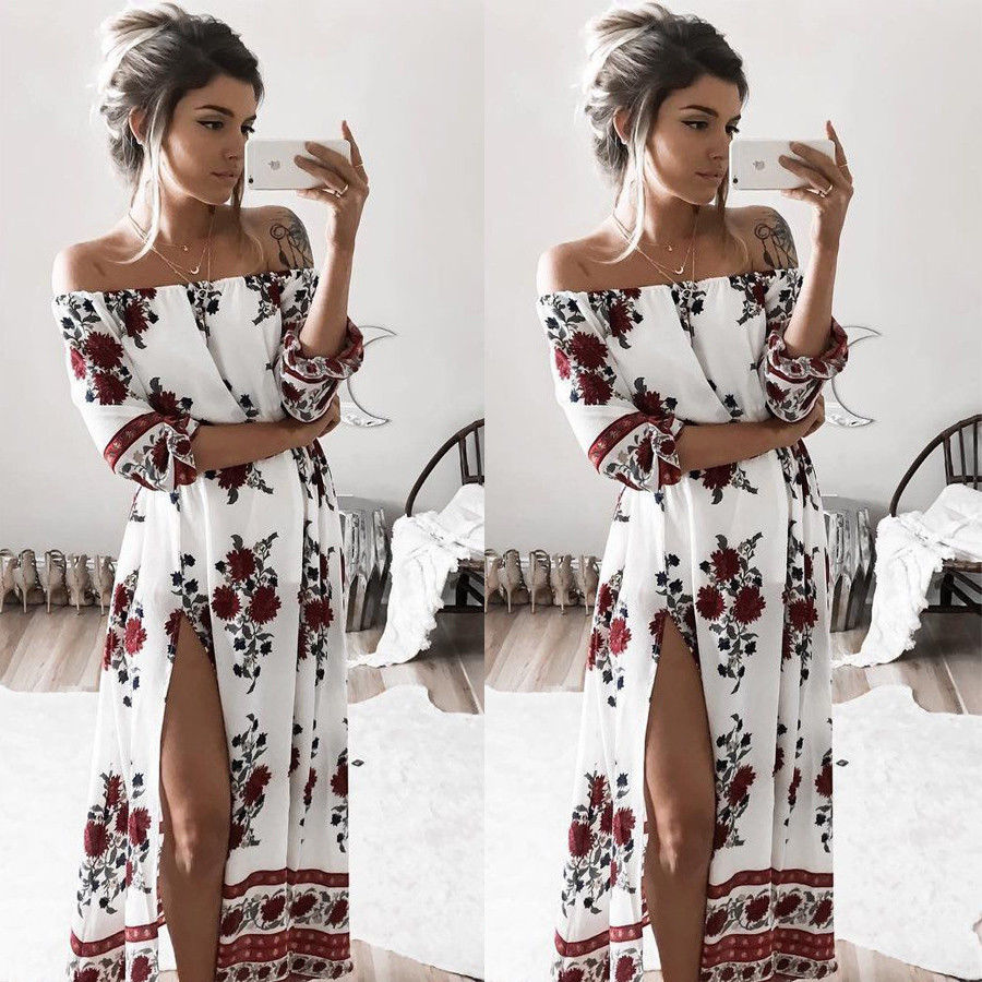 Frauen sommer vintage boho blumen kleider sexy slash neck split lange abendgesellschaft strand dress floral sommerkleid frauen kleidung
