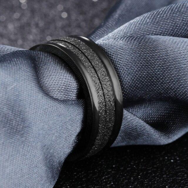 Купить модные украшения парное кольцо из титановой стали черное полукольцо