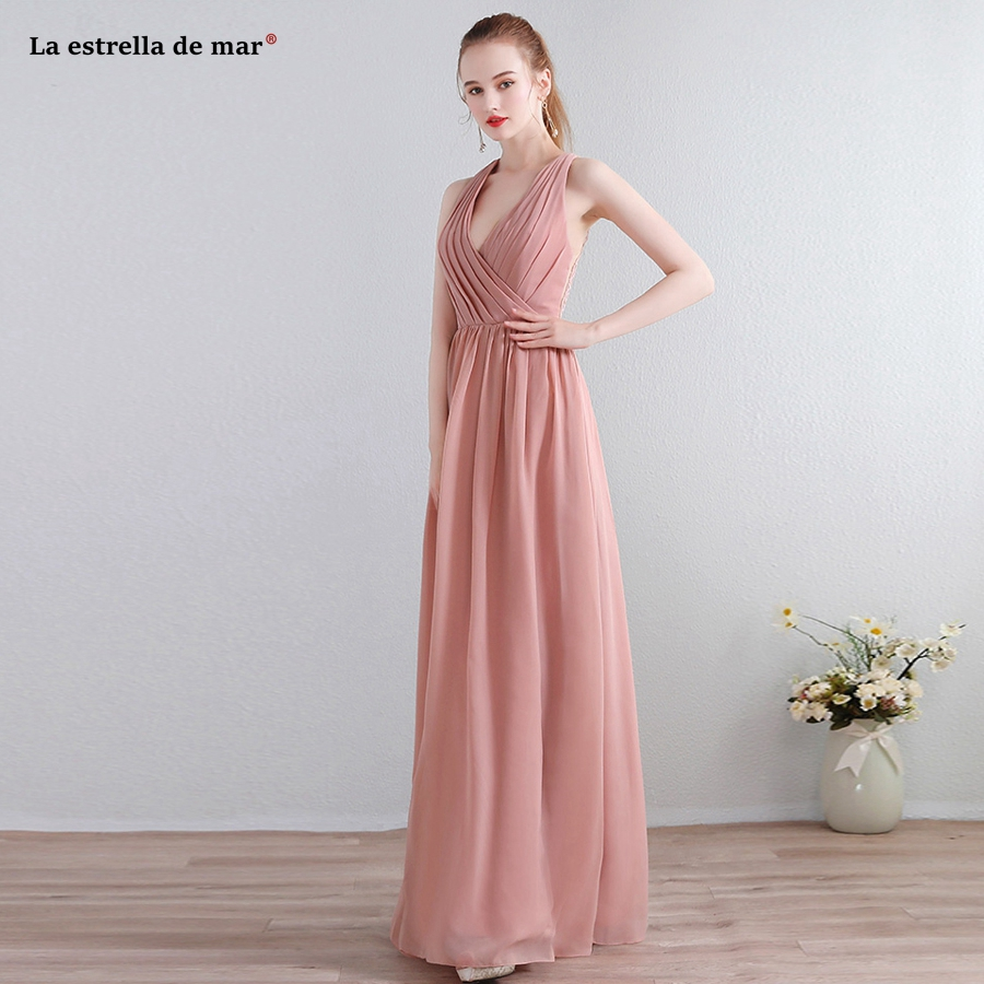 Robe demoiselle d'honneur new chiffon lace sexy V neck a Line blush pink   bridesmaid     dresses   long plus size vestido madrinha