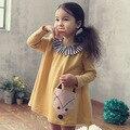 Corea otoño invierno vestidos para niñas de dibujos animados zorro apliques vestido de algodón niño de manga larga vestido de la princesa fiesta de cumpleaños