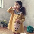 Korean autumn winter cartoon dresses for girls fox appliques cotton dress child long sleeve dress birthday party princess dress