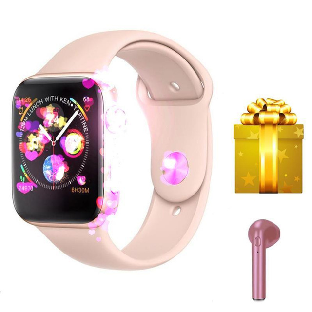 Smartwatch + אוזניות/סט 2019 חדש הגעה IWO 8 MTK2502C אדום עגול כפתור 44 MM סדרת 4 reloj דפורטיבו hombre עבור iphone 6 7 X