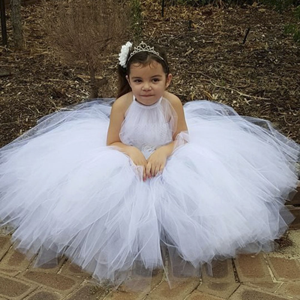 New Flower Girl Dresses White Gray Tutu Dress For Girls Party Bridesmaid Wedding Dress Tulle Fluffy Princess Ball Gown Vestidos