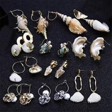 New 21019 Alloy Ocean Earrings Bohemian Shell Conch Scallop Drop For Women