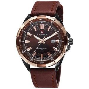Image 2 - NAVIFORCE relojes deportivos para hombre, de cuarzo, resistente al agua, Cuero militar del ejército