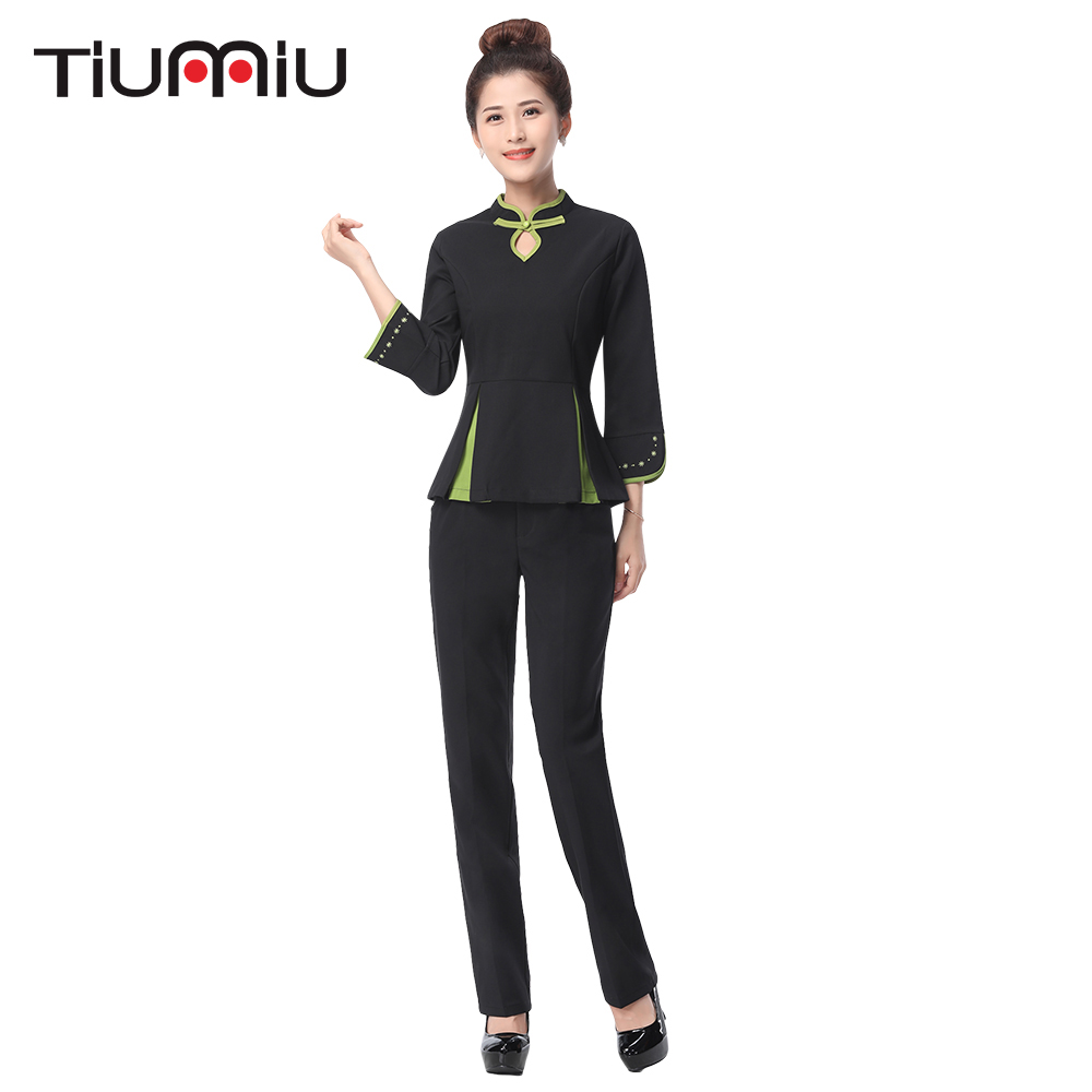 2018 New Arrival Hotel Waiter Uniform Long Sleeved Shirt+Pants Workwear Uniforms Women Aviation Uniform Beauty Salon SPA Fashion