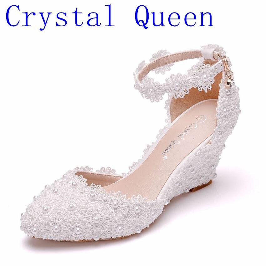 Crystal Queen Lace 8CM Wedges Heel Woman Wedding Shoes Bride White Lace UP Sweet Bridesmaid Bridal Pumps Platform