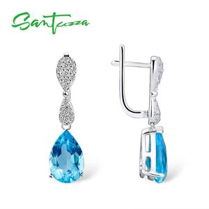 Image 4 - SANTUZZA Jewelry Set For Women Magic Sky Blue Crystal CZ Stones Drop Earring Pendant Set 925 Sterling Silver Fashion Jewelry