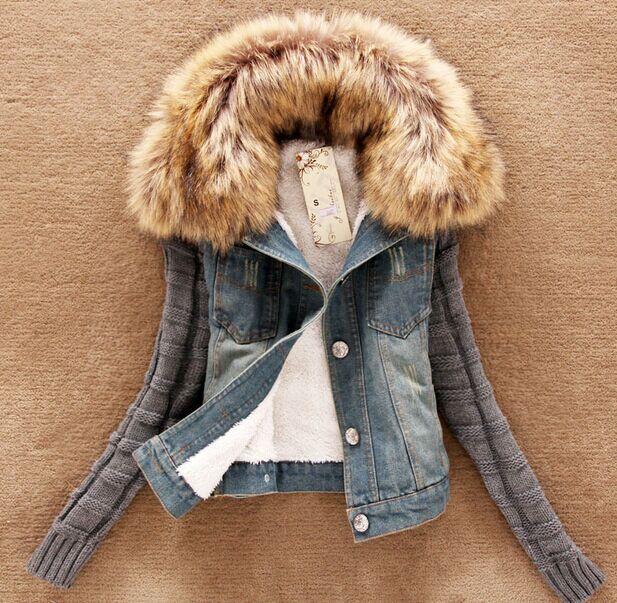 2016 new autumn and winter Nagymaros collar wool jacket sleeve denim denim jacket