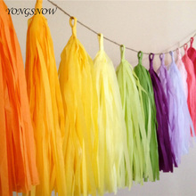 5pcs 12*35cm Tissue Paper Tassels Garland Ribbon Curtain DIY Pompoms Flowers Balls Wedding Party Decoration Crafts Supply
