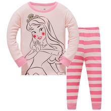 3-8 Years old Girls New Kids Pajamas set Pink Princess Clothes Cartoon Clothing Sets Children Sleepwear suit