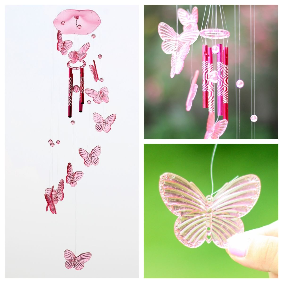 for Home Garden Window Decor Birthday Festivals Gift Stained Glass Hanging Ornament FBBULES Butterfly Wind Chimes with Bell