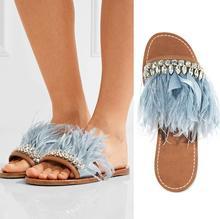 2017 Hot Summer Women'S Sandals Beach Slipper Feather Flip Flop Women Summer Crystal Flat Sandals Comfortable Zapatos Mujer