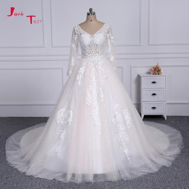 Jark Tozr Newest V-neck Long Sleeve Ivory Gorgeous Ball Gown Wedding Dress  2019 with Veil Beading Appliques Vestido de Casamento 98da78cdb073