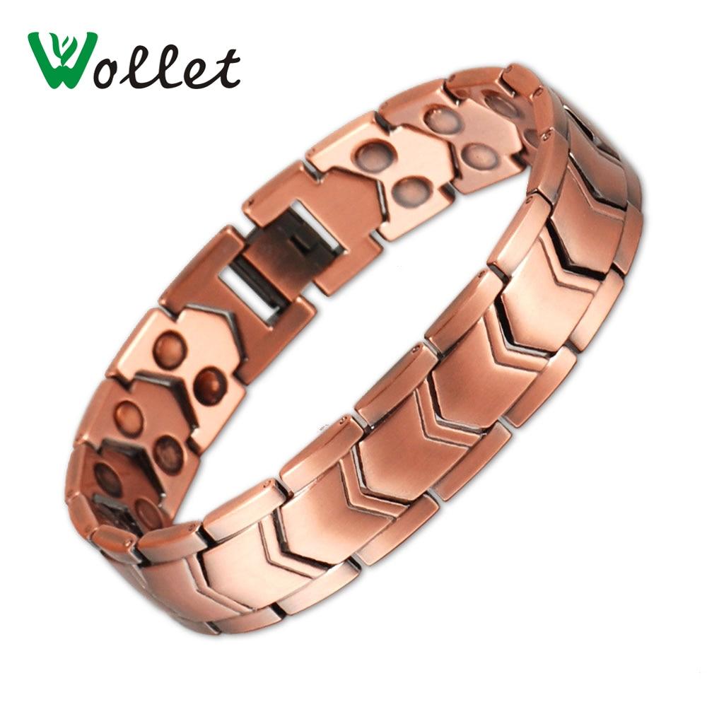 Wollet Jewelry Men Health Energy Antique Copper Plated Bracelet Bangle Bio Magnetic Stainless Steel 15mm Width Bracelet For Men