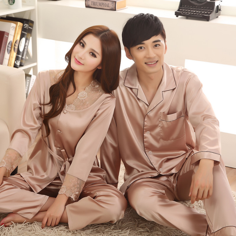 Lovers sleepwear spring and autumn thin plus size silk   pajamas   male women long sleeve   pajama     sets   lace lounge   set