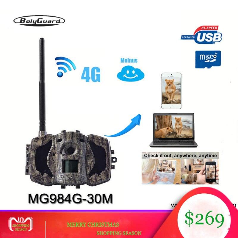 Bolyguard caméra de chasse 4G Sauvage caméra GSM vision nocturne MMS GPRS Noir IR 30MP 1080 P HD Photo Pièges les caméras thermiques trailCamera