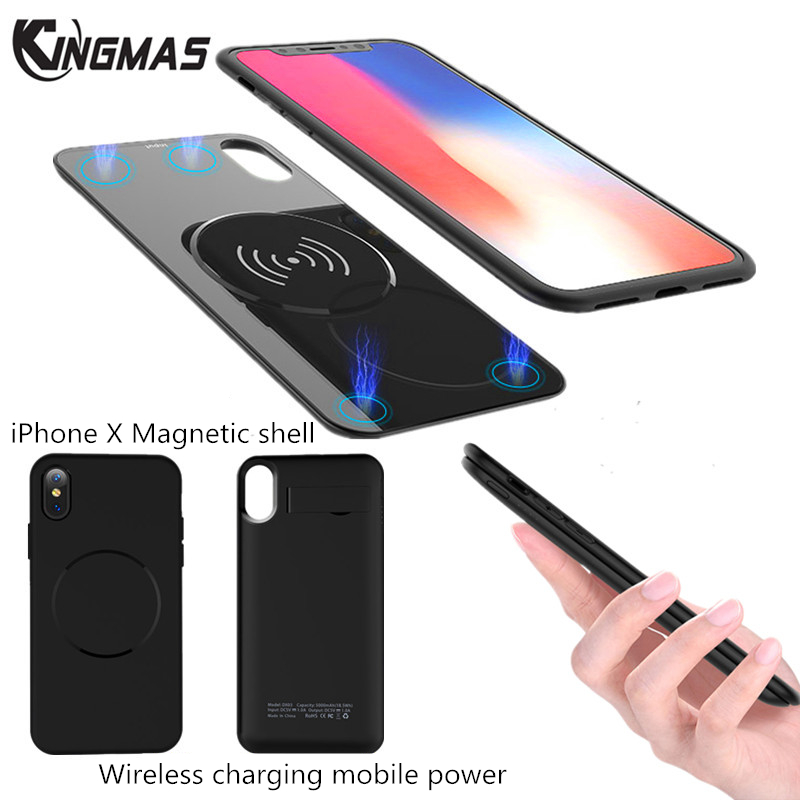 Kingmas Wireless charger Power Bank For iPhone X 5000MAh External Backup Battery Charging Case For iPhone 8 Samsung S8 S9 Plus