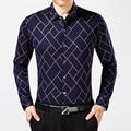 100% Algodón da vuelta-abajo Camisa de Los Hombres de Manga larga Slim Fit de Moda de Negocios Formal Casual Camisa de Vestir Más El Tamaño chemise