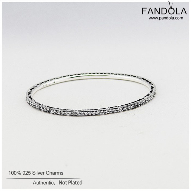 Bracelets & Bangles 925 Sterling-Silver-Jewelry Full of Heart Bangles with Cubic Zirconia Bracelets for Women Fashion Jewelry