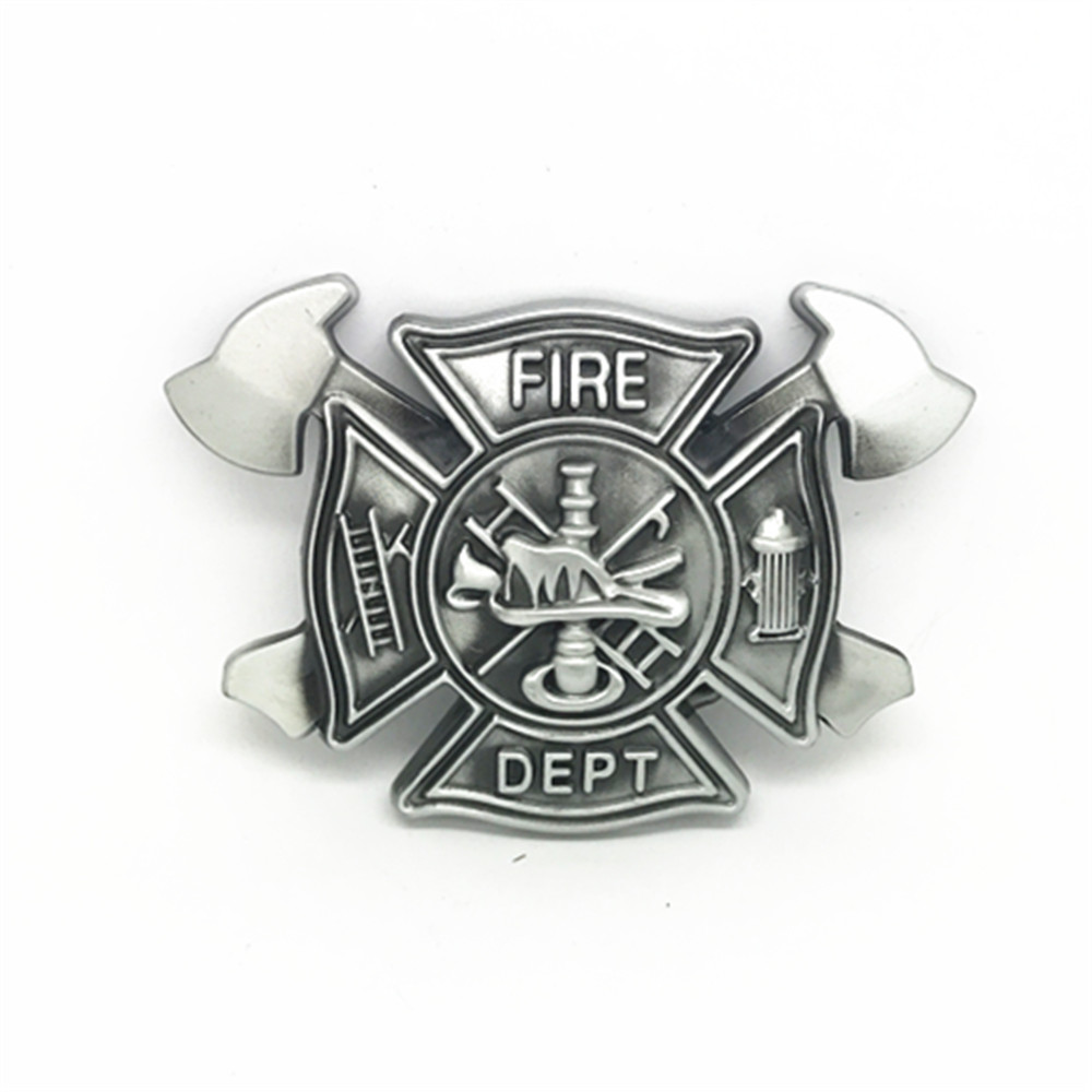 Westem Cowboy FIRE DEPT Tools Vintage Zinc Alloy Belt Buckle Men's Smooth Butlon For 3.8 Belts