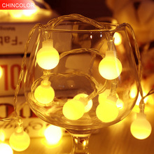 Boules blanches Lumières de vacances 1-2m 10-20leds Led Light string À piles Noël noël wedding valentine Day fée décor F