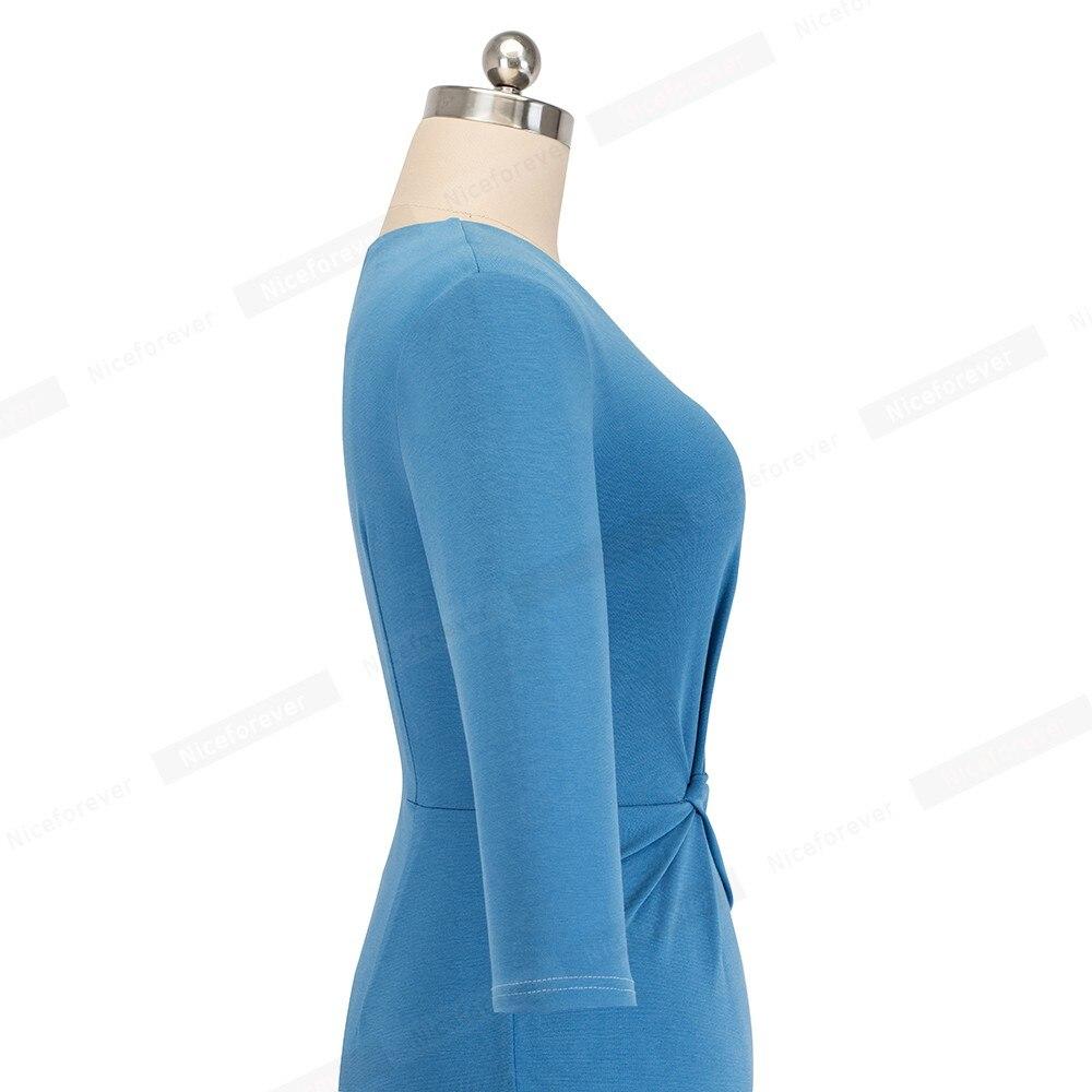 Image 5 - Женское винтажное платье Nice forever, однотонное облегающее платье с узлом для деловых встреч и вечеринок, B476Платья   -