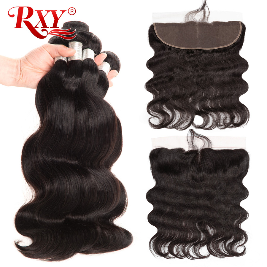 RXY Human Hair 3 Bundles Brazilian Body Wave Bundles With Closure Frontal Ear To Ear Lace