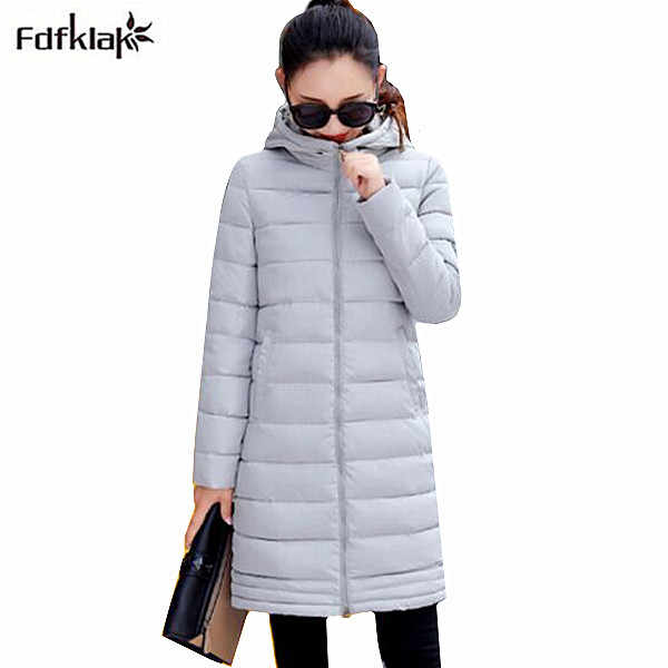 Fdfklak New Korean Winter Outerwear Women Winter Jacket Women's Slim Long Coat Female Parkas Hooded Ladies Coats Jackets b050 muxu new autumn winter coat women basic jacket coat female slim hooded cotton coats casual silver long sleeve ladies jackets