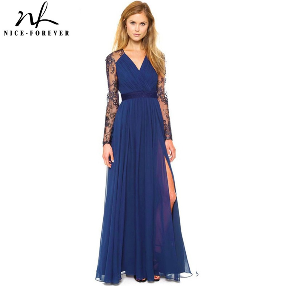 Buy Cheap Nice-forever Sexy Blue Summer Elegant V Neck Long Lace Sleeve Fitted dress Women Fashion Slimming Chiffon Split Maxi Dress A001